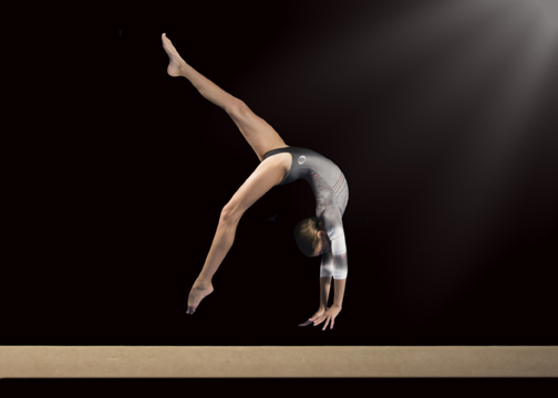 EXTRA FLEXIBLE. Laney Height can perform flips with ease thanks to her experience as a gymnast.