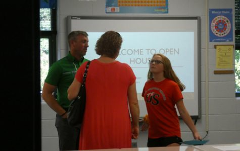 A NEW CLASSROOM. Stephen Williams, left, is one of several teachers who moved into new classrooms at Sevier Middle.