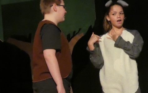 A CLASSIC TEAM. Shrek meets Donkey on Sevier's stage. Countless hours of rehearsals prepared the two actors for their performances.
