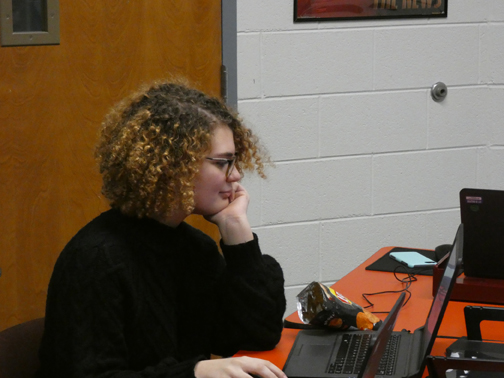 SOMEBODY IS WATCHING. Scribe opinion editor Anna Harrington works on a school-issued laptop. Teachers can use software called